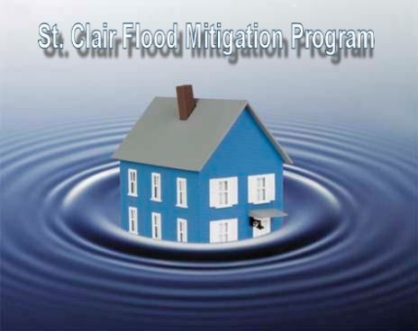 Digital image of a house surrounded by water with the words &#34St. Clair Flood Mitigation Program.&